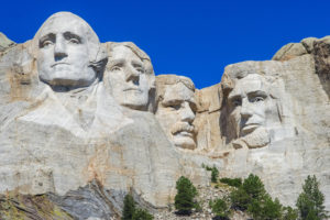 Mount Rushmore National Memorial - sculpture with faces of four American Presidents: Washington, Jefferson, Roosevelt, and Lincoln, at Keystone, South Dakota